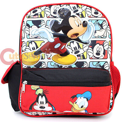 """Disney Mickey Mouse with Friends School Backpack 12"""" Bag -Cartoon Happy Go Lucky"""