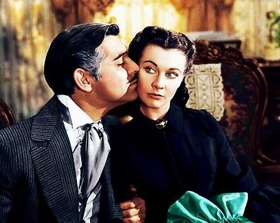 GONE WITH THE WIND color still GABLE & LEIGH - (a063)