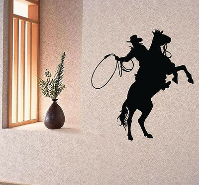 Wall Decals Vinyl Decal Sticker Art Mural Decor Man Cowboy Riding a Horse Kj728