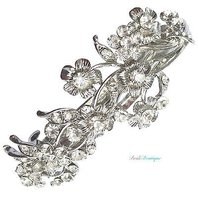 Bridal Wedding Vintage Vine & Flower Silver Crystal Barrette Hair Clip Grip CL09
