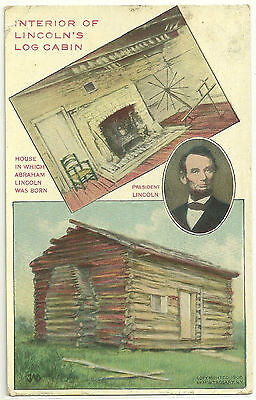 INTERIOR OF LINCOLN'S LOG CABIN ~ Lincoln's Birth Place. Post marked 1911 P.Card
