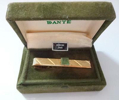 Vintage Beautiful Chinese Green Jade Mens Tie Bar Clip in Original Box