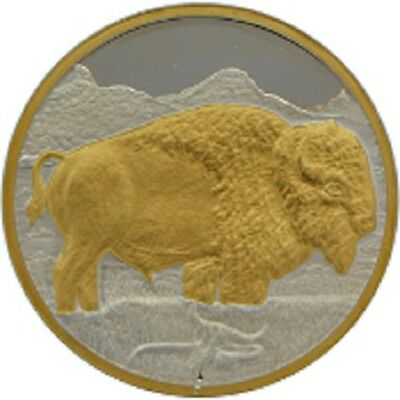 Alaska Mint BUFFALO Silver & Gold Relief Medallion Proof 1Oz