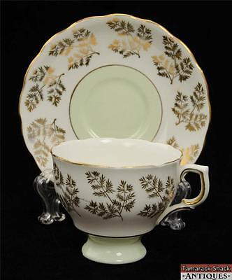 Colclough Bone China Footed Cup & Saucer Set Mint Green England Gilded Vintage