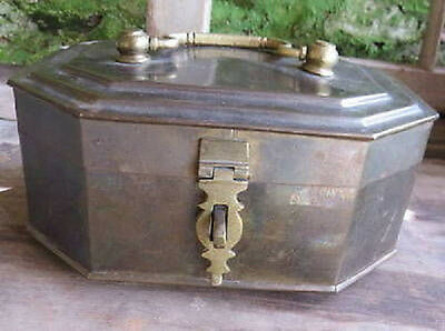 BRASS CASKET BOX  Large Vintage Cast Metal Betel Nut Pandan India Asian Jewelry