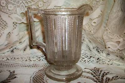 ANTIQUE CHIC BEADED GLASS PITCHER Sm SHABBY EAPG OLDIE