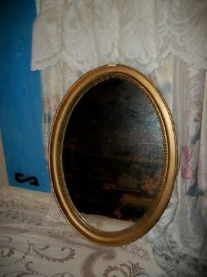 CHIC CHIPPY 20s GESSO WOOD OVAL MIRROR SHABBY VINTAGE BEADED COTTAGE