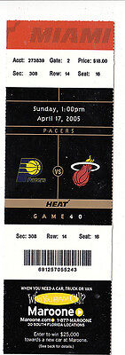 2005 MIAMI HEAT VS INDIANA PACERS FULL TICKET STUB 4/17/05 SHAQ WADE MOURNING
