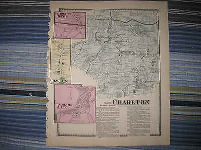 Antique 1870 Charlton Depot City Worcester County Massachusetts Handcolor Map Nr