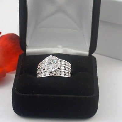 Stunning 5 Carat Round 3 Row  Cz Engagement Ring With Free Ring Box