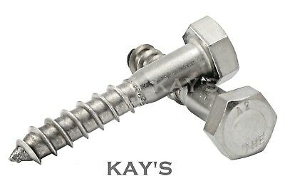 M8 / 8mm A2 Stainless Steel Hexagon Head Coach Screws Hex Wood Screw Bolts, Kays