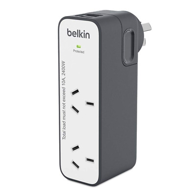 Belkin International Universal Travel Power Double Adapter+USB Charger AU US UK