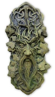 CELTIC GREEN MAN DECORATIVE WALL PLAQUE frost proof STONE garden ornament