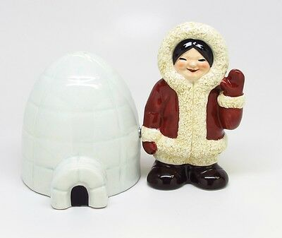 Eskimo & Igloo Ceramic Salt & Pepper Shakers.magnetic Attached.north South Pole