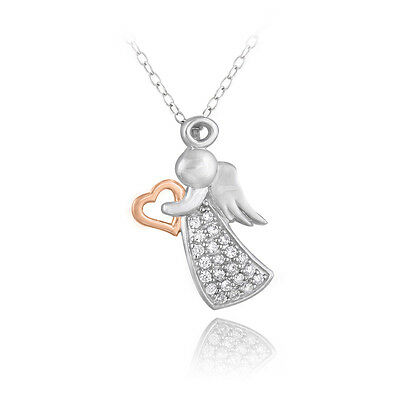 """925 Silver Two Tone Rose Gold Tone CZ Angel & Heart Necklace, 18"""""""