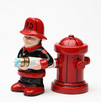 Firefighter Fd Fireman & Fire Hydrant Salt & Pepper Shakers Magnetic Attached