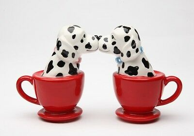 Red Tea Cup Dalmatian Dog Ceramic Salt & Pepper Shakers Set.magnetic Attached