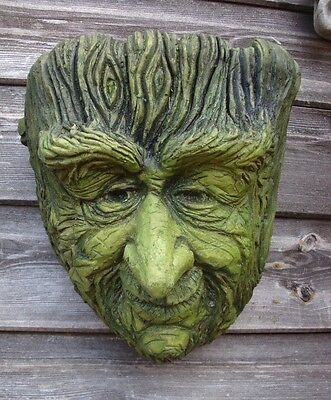 "Green man planter 'Old Rye' frost proof stone pagan garden ornament 25cm/10""H"