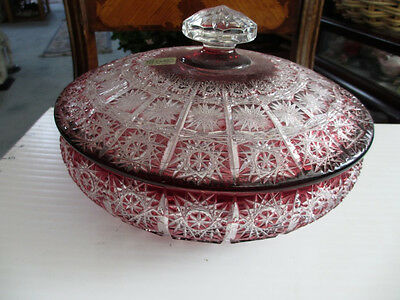 Beautiful Caesar Crystal Bohemiae Czech 24% Lead Red Bowl with Lid