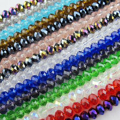 4mm 6mm 8mm 10mm 12mm 14mm Mixed Faceted Glass Crystal Rondelle Spacer Beads
