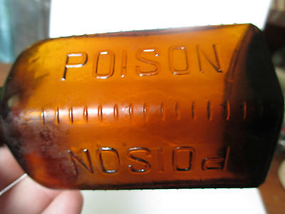"rare antique poison emb.poison poison unusual LARGE SIZE 4-3/4"" tall take a look"