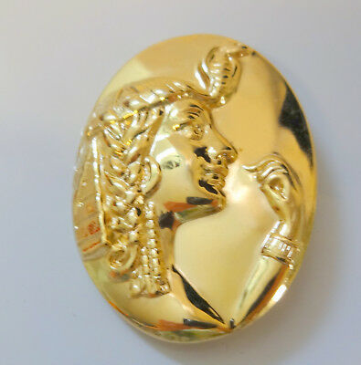 Vintage Polished Gold Tone Metal Egyptian Cameo Pin Brooch