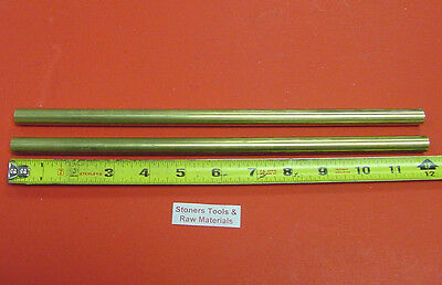 """2 Pieces 1/2"""" C360 BRASS SOLID ROUND ROD 12"""" long New Lathe Bar Stock 1/2 Hard"""
