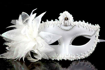 Venetian Party Masquerade Fancy Dress Masks Lace Feather Lily Flower Half Mask