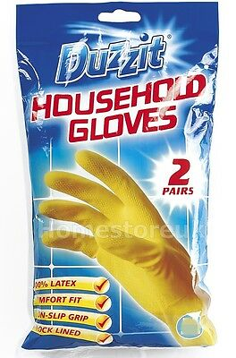 2 Pairs Household Gloves Latex Rubber Non Slip Water Proof Washing Up Cleaning