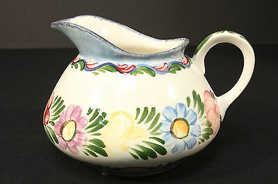 Italian Pottery Signed 'Hand Avi' Cider Pitcher Pastel Flowers Hand Painted