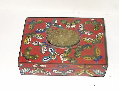 Large Old Bronze Chinese Red Buttery Cloisonne Enamel Jade Humidor Jar Box