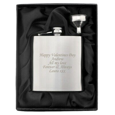 Personalised Engraved SS 6oz Hip Flask,Funnel and Gift Box- Golf, Trophy, Sports