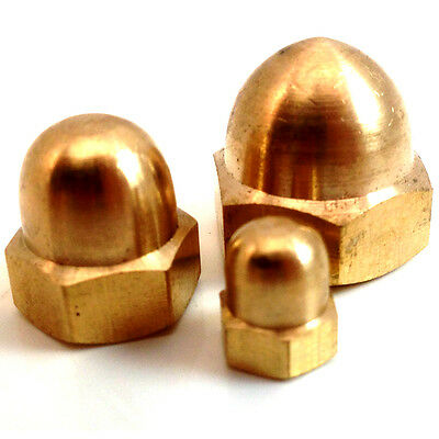 Solid Brass Dome Nuts Din 1587, M4, M5, M6, M8, M10, Nut - Small Amounts