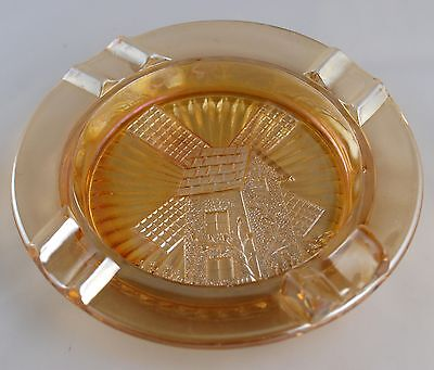 Carnival Glass WINDMILL Ashtray - 1920s - 30s - Marigold