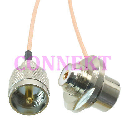 PL259 UHF VHF to SO239 bulkhead 90°for car mobile radio antenna RG316 cable 16FT