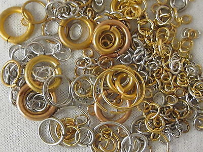 Jump Rings  Lot Assorted Brass Gold Silver Tone Vtg Nos Jewelry Repair Craft