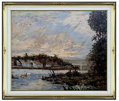Framed, Claude Monet Seine at Bougival Repro, Hand Painted Oil Painting 20x24in