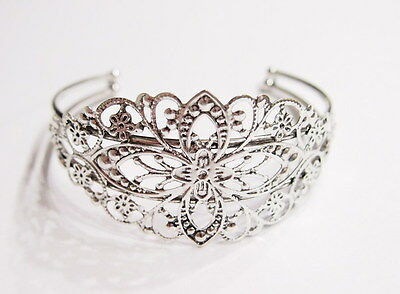 2 Antique Silver Victorian Cuff Bracelets without Settings, these are Very Nice