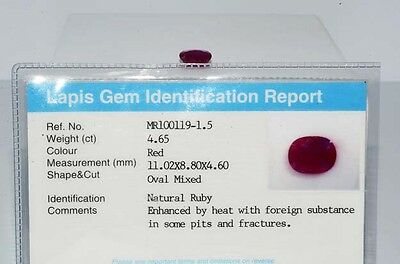 $8,790 4.65Ct Natural Lapis Gem Certified Oval Mixed Cut Ruby Loose Gemstone