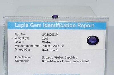 $1,780 1.48Ct Natural Lapis Gem Certified No Heat Violet Sapphire Loose Gemstone