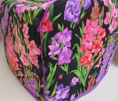 Gladiolus Floral Flowers Quilted Fabric 2-Slice or 4-Slice Toaster Cover NEW