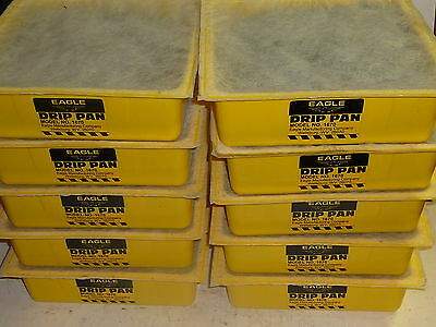 "Lot of 10 EAGLE 10-1/2"" x 10-1/2"" x 3"" Sorbent Machine Oil Drip Pan Trays 1670"
