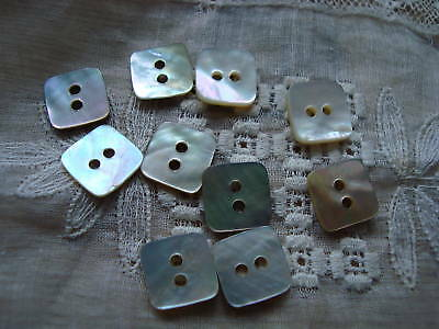 10 Square Shape Agoya/Mother of Pearl Buttons