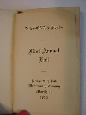 1925 NITES OF THE ROADS FIRST ANNUAL BALL DANCE CARD PROGRAMME BREWER CITY HALL