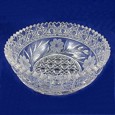 Antique/Vintage American Brilliant Manganese Dioxide Cut Glass Bowl Sawtooth