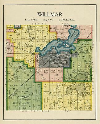 Willmar Township Kandiyohi County Minnesota Rare Vintage Color Map Genealogy