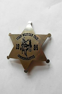 Vintage 1984 Great Western Fair Commemorative Full Size Pinback Star Badge