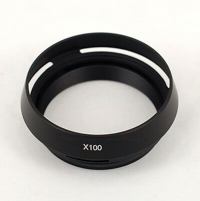 Metal Lens Hood with Adapter Ring for Fujifilm FinePix X100 Camera Black