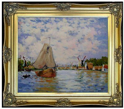 Framed, Claude Monet Holland Repro, Hand Painted Oil Painting 20x24in