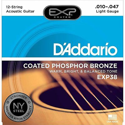 D'Addario EXP38 Long Life 12 String Acoustic Strings - Phosphor Bronze 10-47